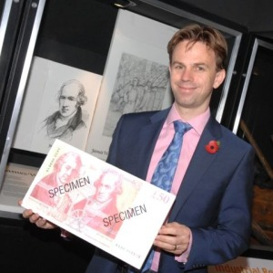 Chris Salmon and the new note in front of the James Watt display at Kinneil Museum.