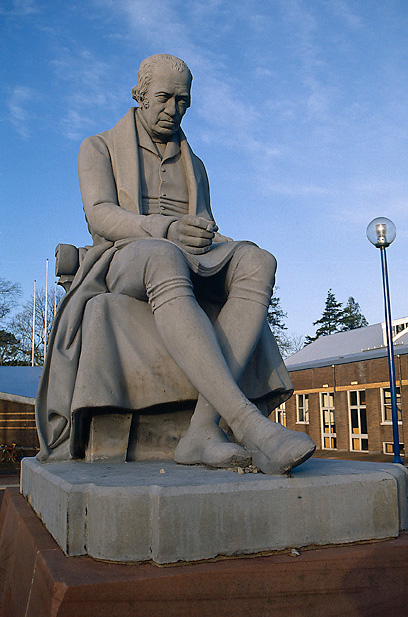 Statue of Watt at Heriot Watt University.