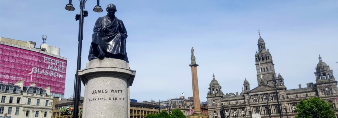 The Watt Statue beside the City Chambers in George Square, Glasgow.