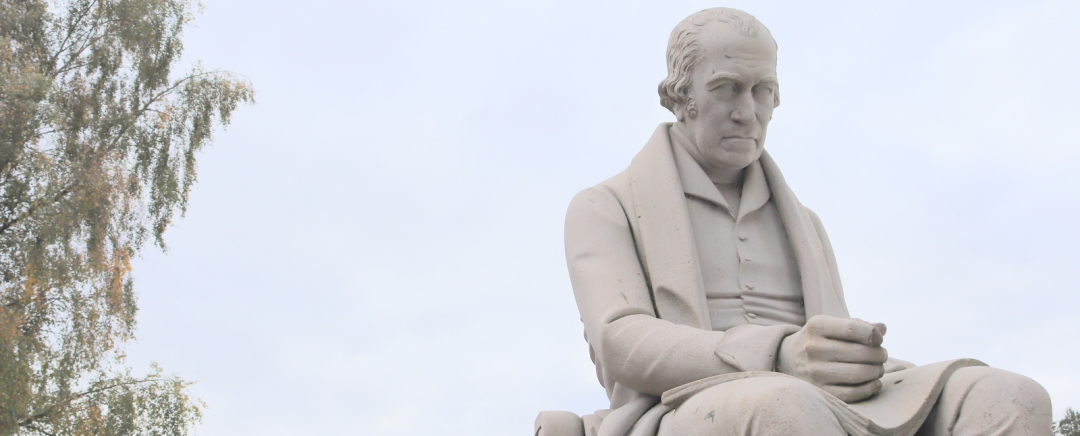 The statue of James Watt at Heriot Watt University in Edinburgh.