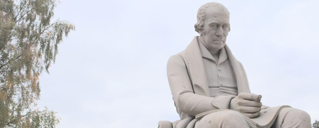 The statue of James Watt at Heriot Watt University in Edinburgh.
