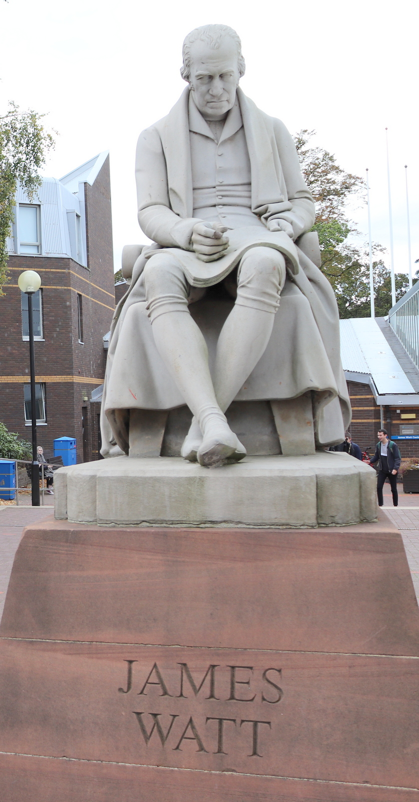 The statue at the entrance to Heriot Watt's Riccarton campus.