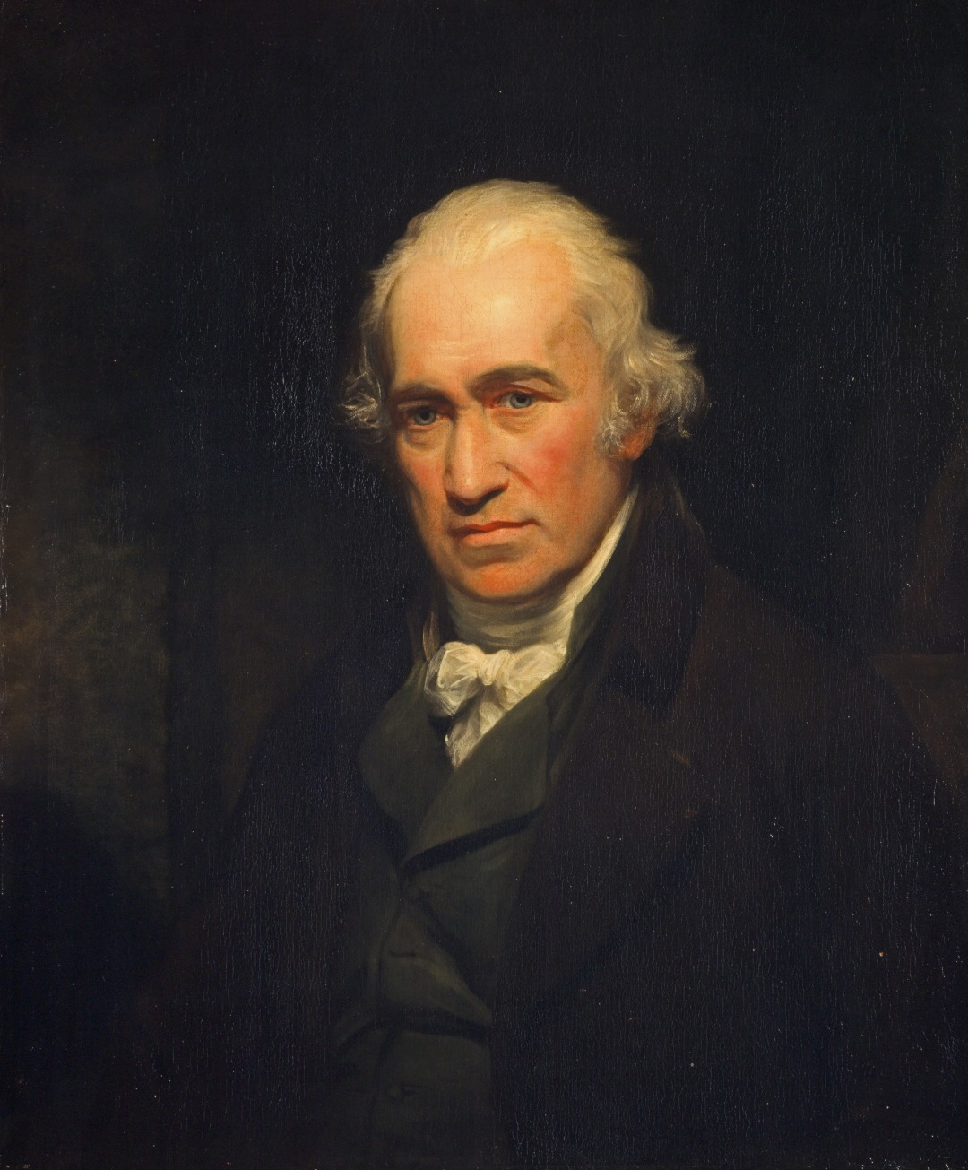 Half-length oil portrait of James Watt by John Partridge, after an original by Sir William Beechey.