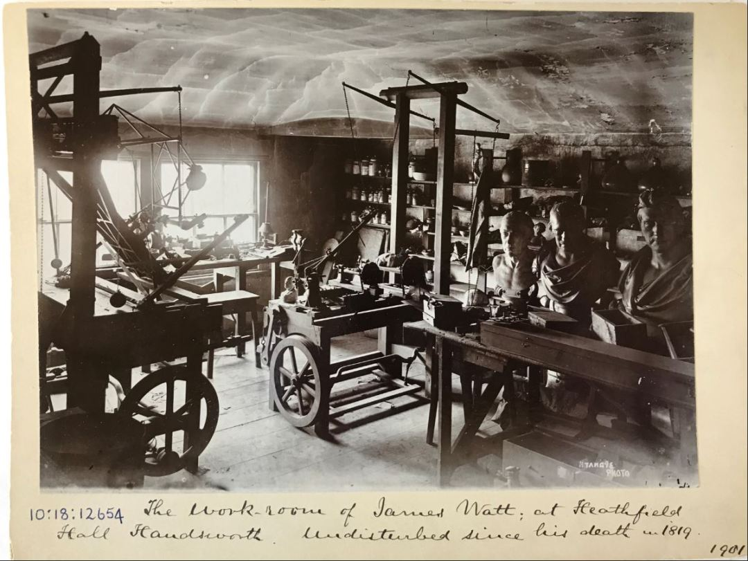 Frozen in time: The workroom of James Watt at his home at Heathfield Hall in Handsworth, Birmingham. It was photographed in 1901 - having been undisturbed since Watt's death in 1819.