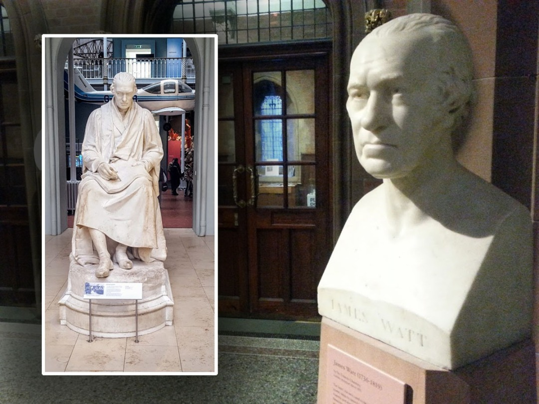 The bust of James Watt in the entrance hall of the Scottish National Portrait Gallery in Edinburgh's Queen Street.
