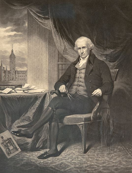 Engraving of James Watt from Heriot Watt collection.
