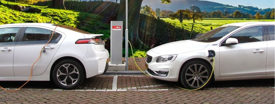 Electric cars charging.