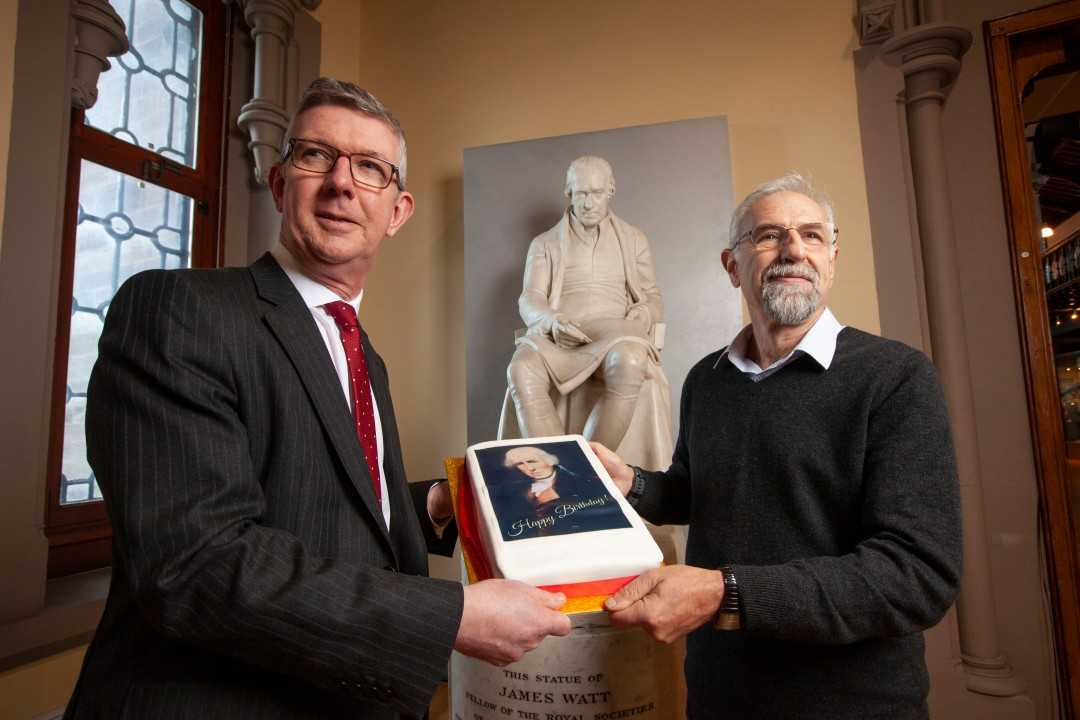 Professor Colin McInnes (left) and Professor Asen Asenov with a statue of James Watt at the University of Glasgow. The University is planning a series of special events in this special anniversary year.