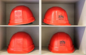 Miners helmets at the National Mining Museum.