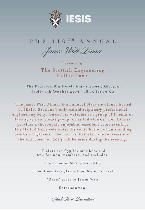 Poster for James Watt Dinner