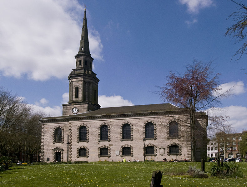 St Paul's Church, in the Jewellery Quarter, Birmingham, England. By Oosoom. This picture is licensed under the Creative Commons Attribution-Share Alike 3.0 Unported license.