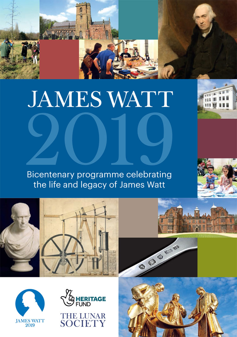 The cover of the 2019 programme for Watt-related events in and around Birmingham.