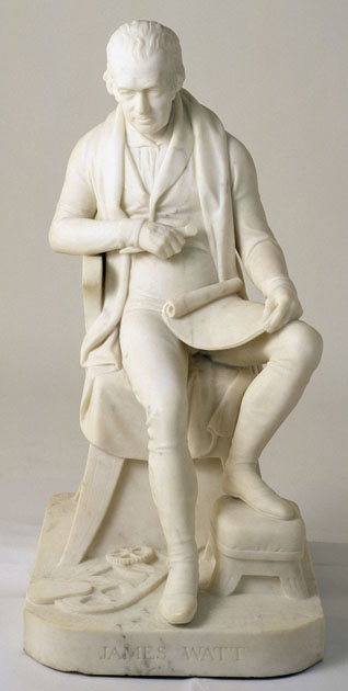 Marble statue of James Watt by William Scoular, 1839 (Image copyright CSG CIC Glasgow Museums).