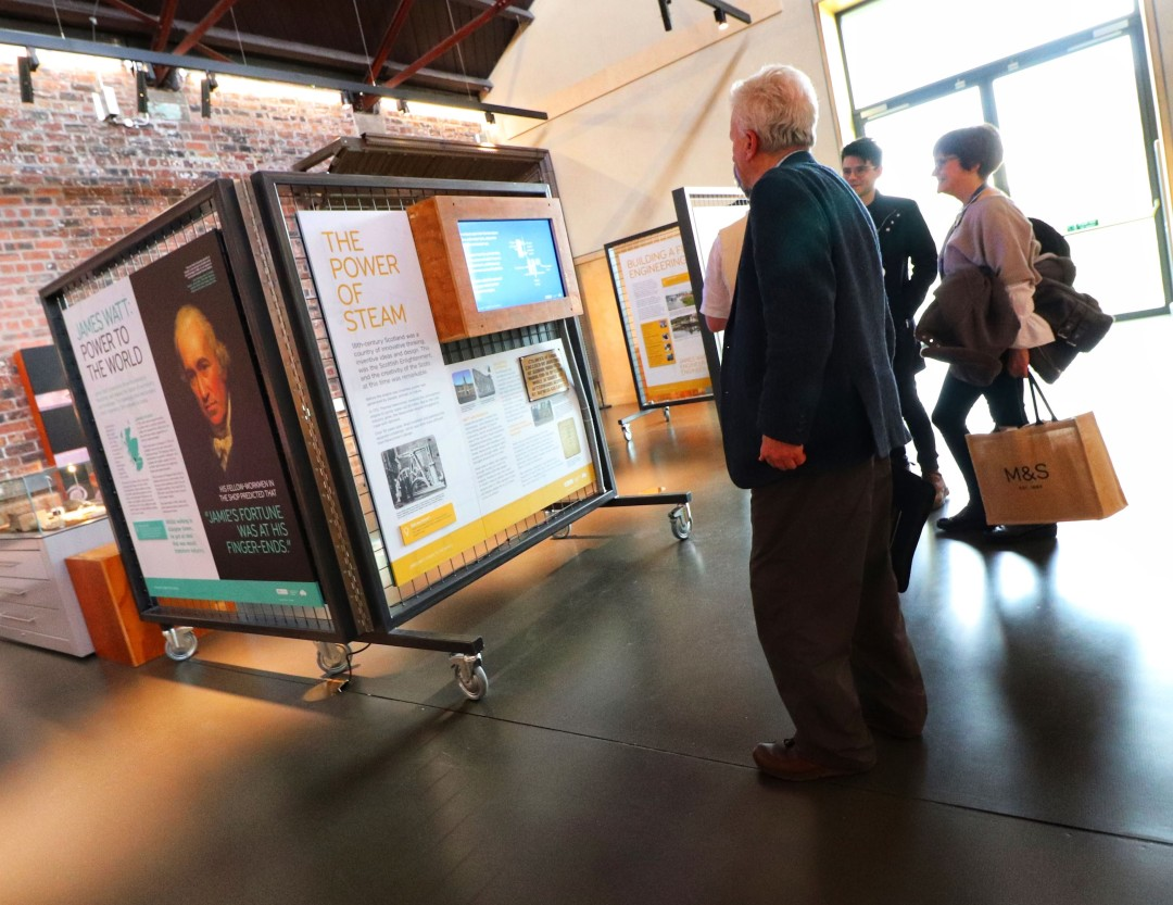Visitors check out the new exhibition on James Watt.