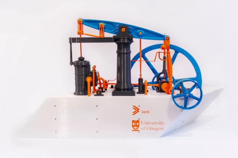 A working scale model of the Watt-Boulton engine which was designed, 3D-printed and built by students from the University of Glasgow's JetX society. Picture: University of Glasgow.
