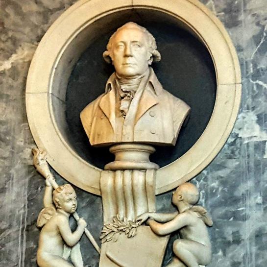 The bust of Watt's business partner Matthew Boulton at St Mary's Church, Handsworth, Birmingham.