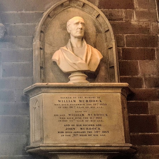 The bust of William Murdoch at St Mary's Church, Handsworth, Birmingham.