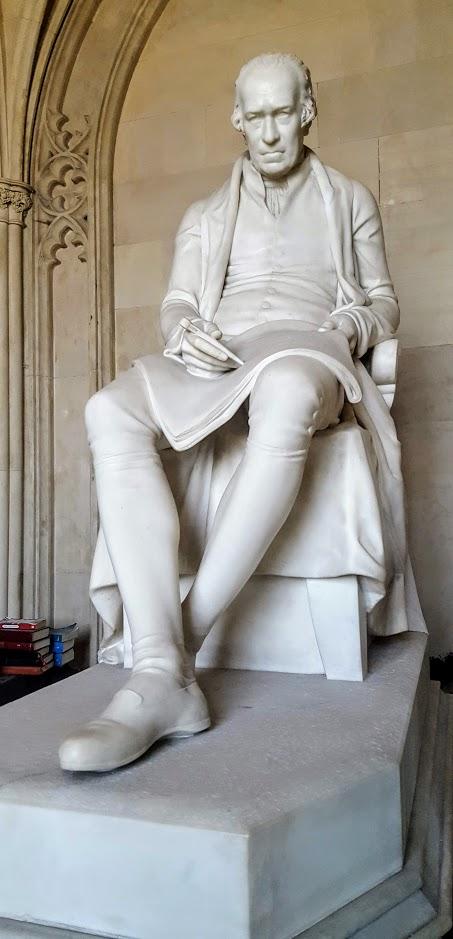 The statue of James Watt at St Mary's Church, Handsworth, Birmingham.