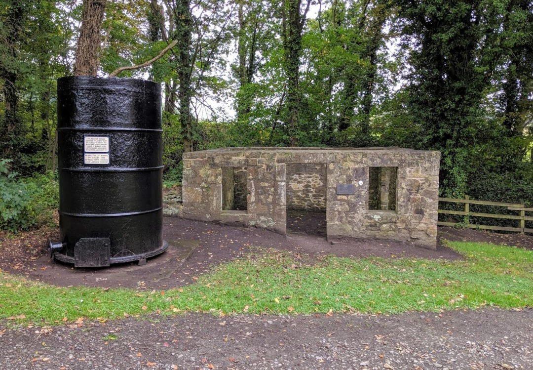 Watt's old cottage workshop at Kinneil Estate. The steam engine cylinder was put on the site in the 1940s by the town council.