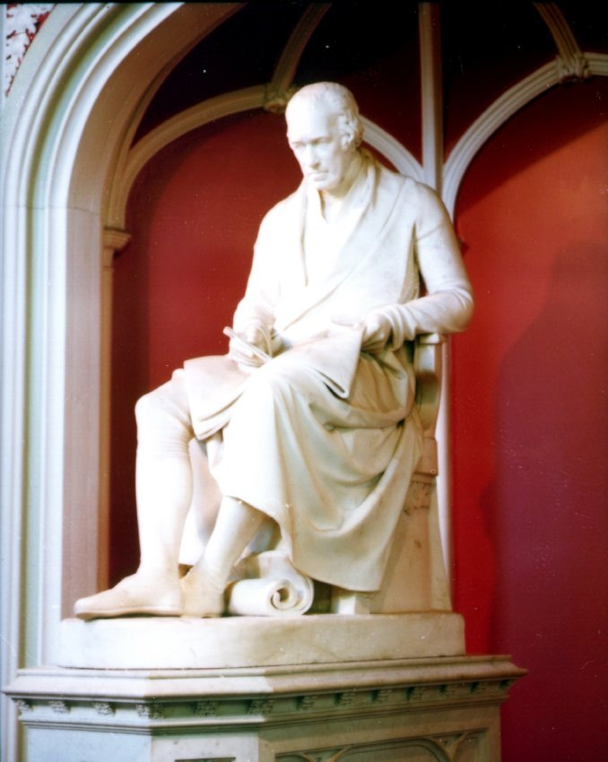 This memorial to James Watt stands in the Watt Library, Greenock.