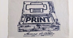 One of the modern prints produced using Watt's copying process.